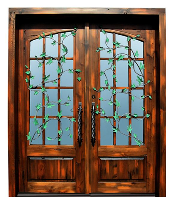 Wooden French Doors External: Wood Doors With Iron 'ivy' Embellishment. So Cool. And