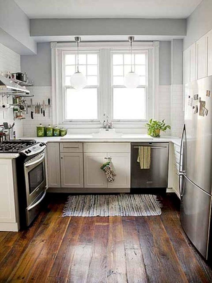 Stainless steel appliance set and lovely l shaped kitchen - Small rectangular kitchen design ideas ...