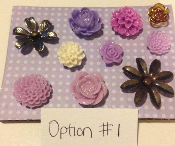 Decorative Flower Metal/Resin Tacks/Push by BarbarasLaborofLove