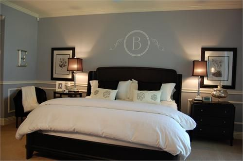 grey, chocolate and tan bedroom | White chair rail and decorative molding boxes, clean white bedding