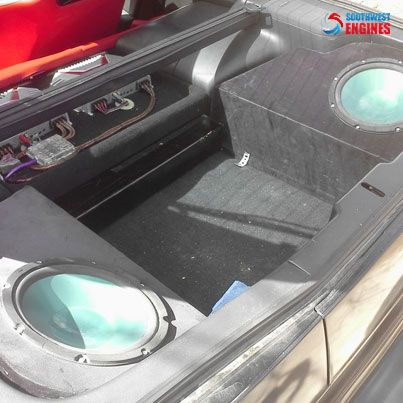 """#SouthwestEngines This is the car audio system I have in my 1995 nissan 300zx. I have 2 Infinity 10"""" 120w old school kappa subs in a custom enclosure."""