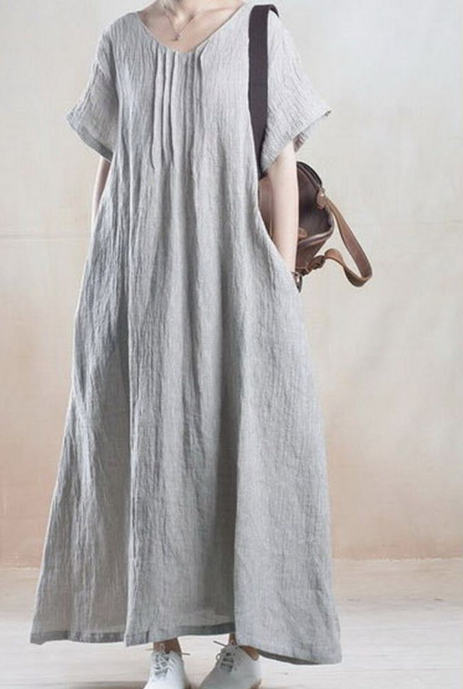 Women loose fit over plus size Bohemian dress long maxi linen tunic casual chic #Unbranded #dress #Casual