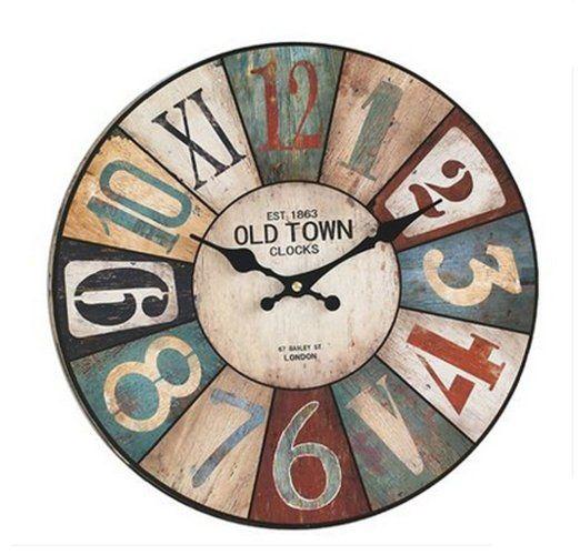 BOJIN Decorazione del Salone d'epoca / Paese / Stile Francese Rotonda Orologio da Parete in Legno - Stile di Città vecchia EURO 39,99