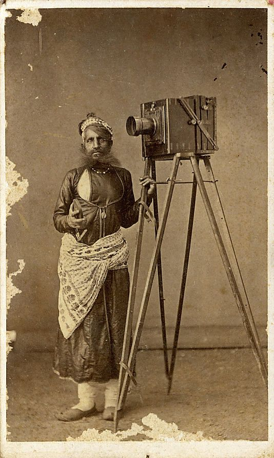 Portrait of Mohan Lal with His Camera  - 1875  India (Udaipur, Mewar, Rajasthan)