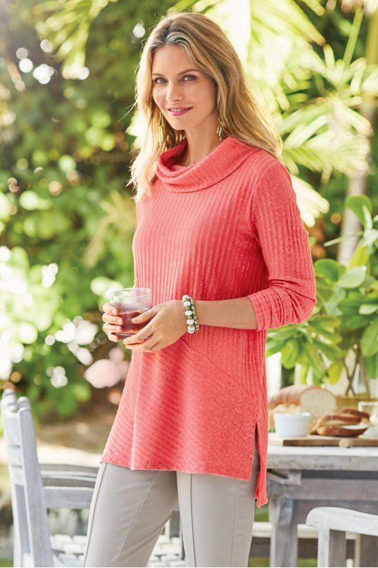 4cb970e065c9b Tressa Tunic - Cowl Neck Ribbed Sweater