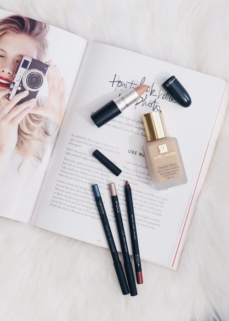 Estee Lauder Double Wear Foundation Review - zoeva eyeliners and a mac lipstick - beauty flatlay inspiration