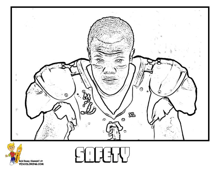 Safety Football Player Picture To Color In