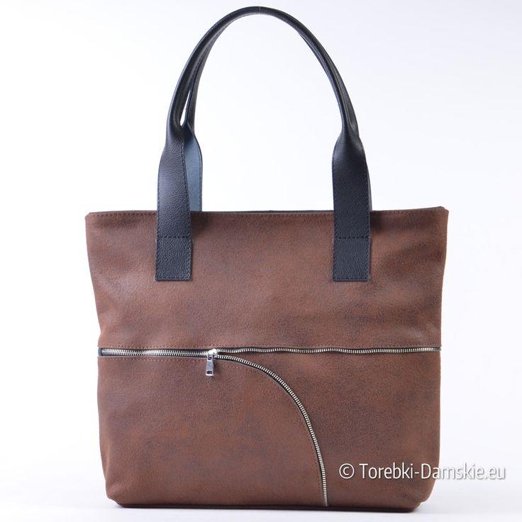 Tania skórzana brązowa pojemna torba damska z naturalnego zamszu, mieści A4. Zobacz zdjęcia: http://torebki-damskie.eu/brazowe/1482-brazowa-torba-shopper-zamsz-naturalny.html