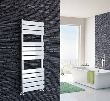 White Flat Panel Ladder Towel Radiator - 1200x450mm [PT-RW1200450] - £149.99 : Platinum Taps & Bathrooms