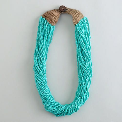 One of my favorite discoveries at WorldMarket.com: Turquoise Multi-Strand Seed Bead Necklace