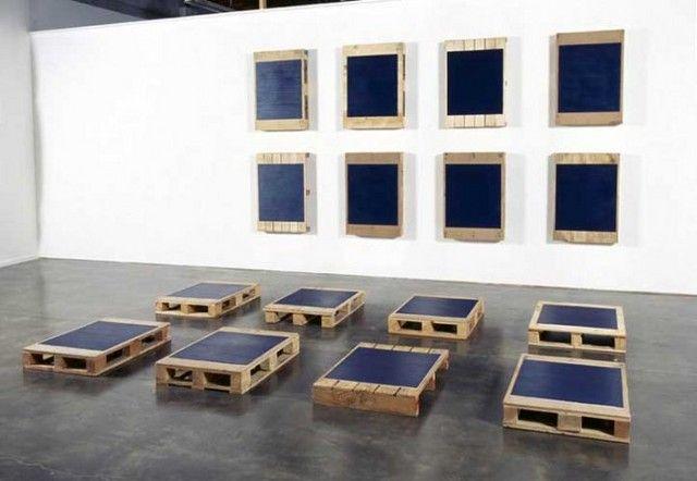 Noel Ivanoff, Stacker P16, 2005, Oil on 16 found pallets, Each panel 920 x 650 x 140mm