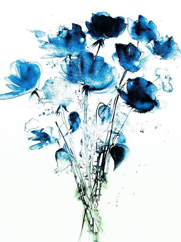 Free Art Print Of Decorative Blue Flower Watercolor Flowers