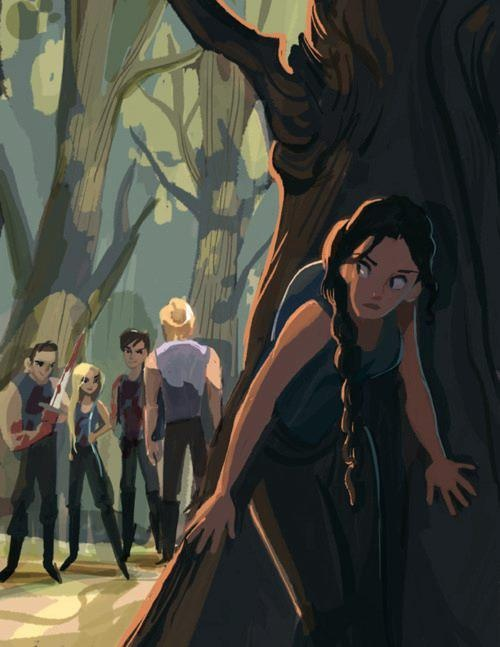 Katniss hidding and evesdropping from the Careers (Cato,Clove,Glimmer) with Peeta. What a beautiful picture!