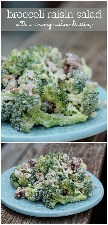 The Best Vegan Broccoli Raisin Salad with a creamy cashew dressing