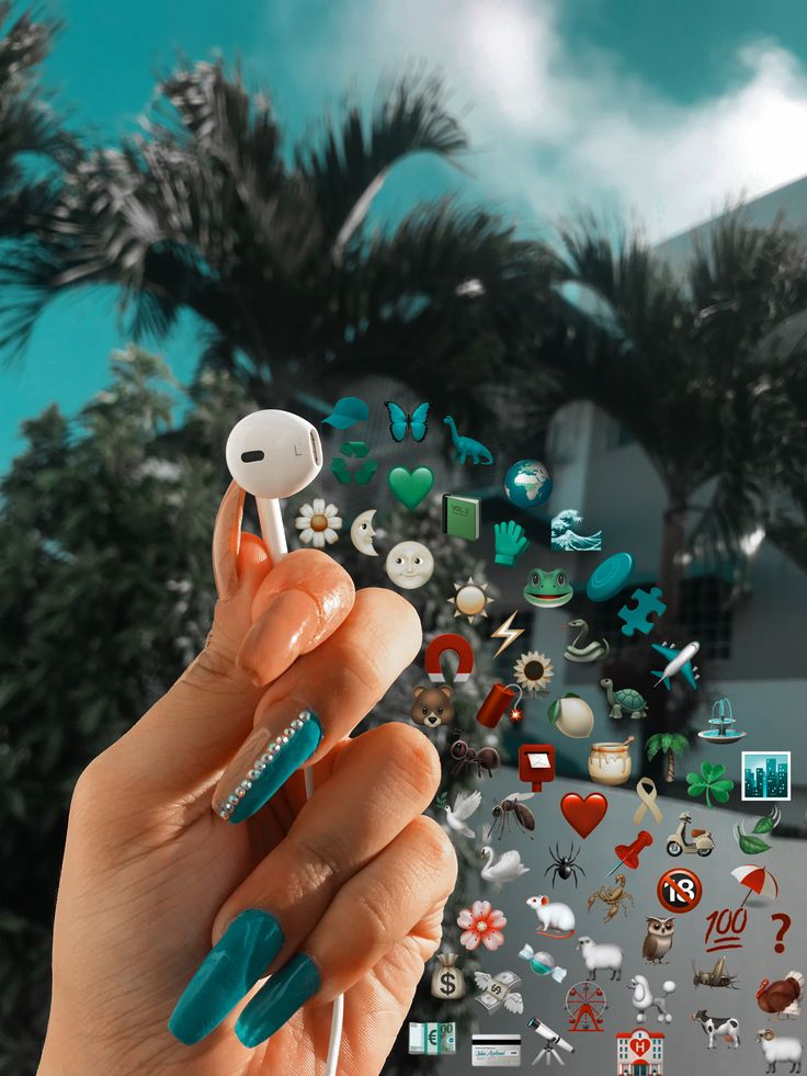 nails airpods emojis aesthetic iphone wallpaper