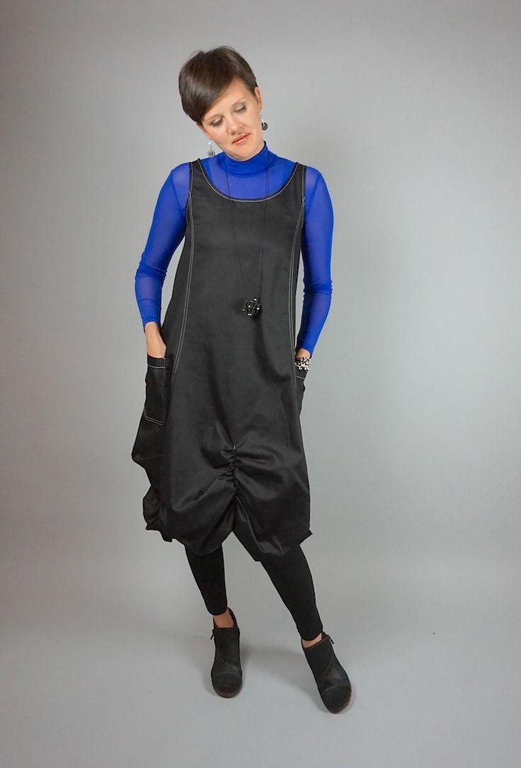 Issey dress by Lousje & Bean http://www.lousjeandbean.ca/shop/issey-crunch-dress-denim/ #artshoes #isseydress #lousjeandbean #jumperdress #funkydress #denim #canadianmade