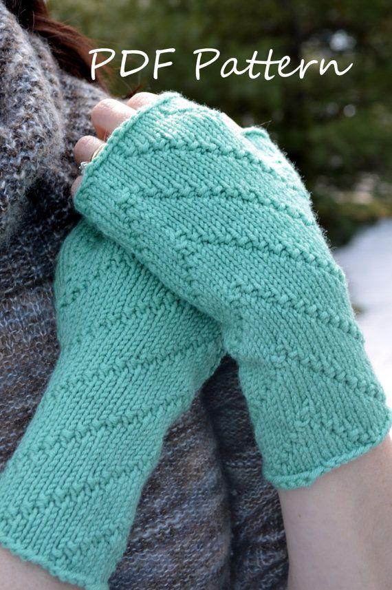 Gloves Knitting Pattern Pinterest : PDF Knitting PATTERN Diagonal Stitch Fingerless by LawsOfKnitting Knitting ...