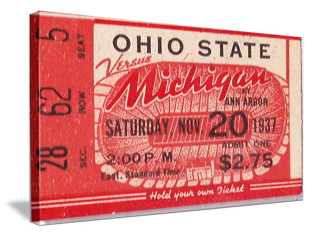 Vintage 1937 Canvas Sports art made from a '37 Ohio State vs. Michigan football ticket. http://www.shop.47straightposters.com/