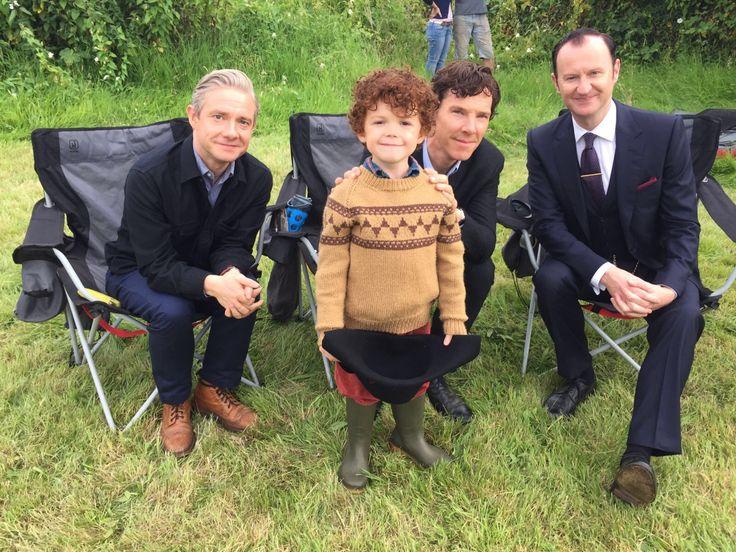 John, Sherlock, Mini-Sherlock and Umbrella-dude