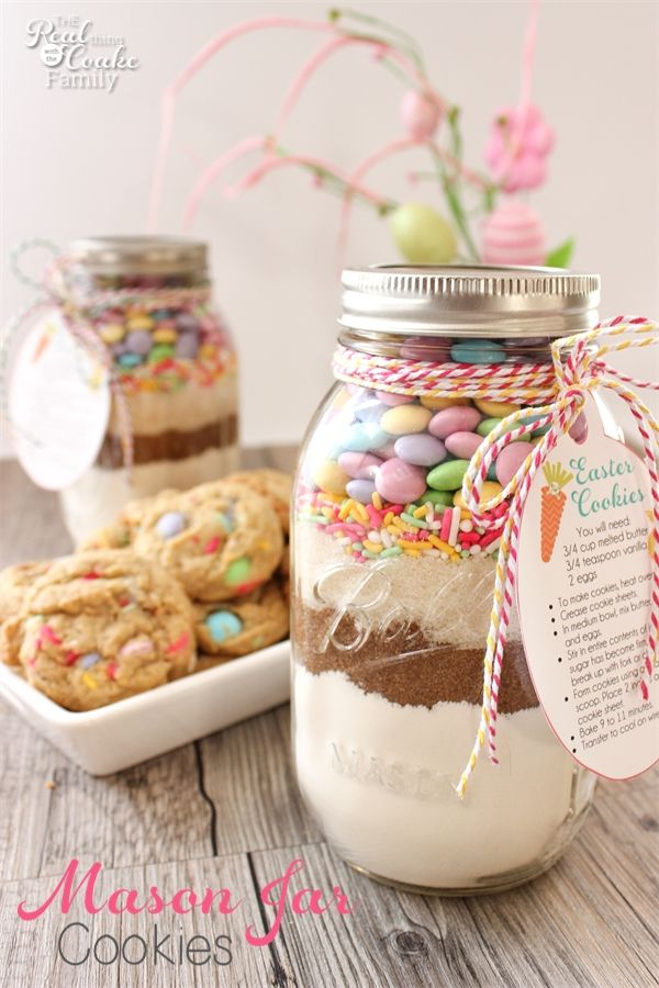 Diy easter gifts for friends 25 easter mason jar cookie recipe with free printable tags negle Images