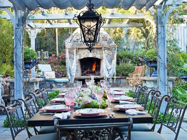 VICTORIAN Outdoor FURNITURE Sets for Dining Room Iron Classic Design Ideas with Unique Stone Fireplace Antique Lighting in the Garden Best Natural Stone Tiles Flooring