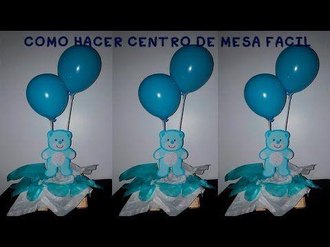 Marvelous Te Muestro Paso A Paso Como Hacer Un Centro De Mesa Para Baby Shower O  Bautizo Facil Y Economico Utilizando Globos, Adornos Y Arreglos Para La Mesa  De ...