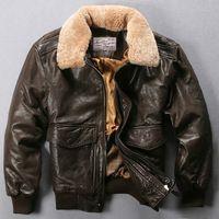 Volar vuelo de la fuerza aérea Avirex chaqueta de cuello de piel de cuero genuino chaqueta de los hombres negro marrón de piel de oveja chaqueta de bombardero de los hombres abrigo de invierno hombres