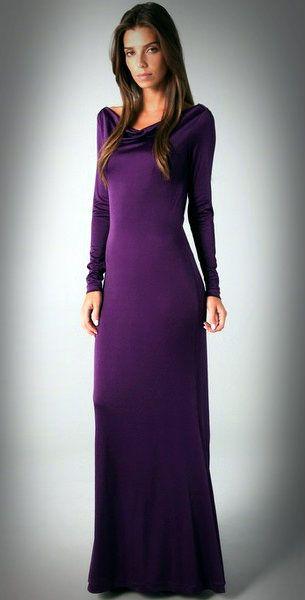 Long Sleeve Purple Bridesmaid Dresses