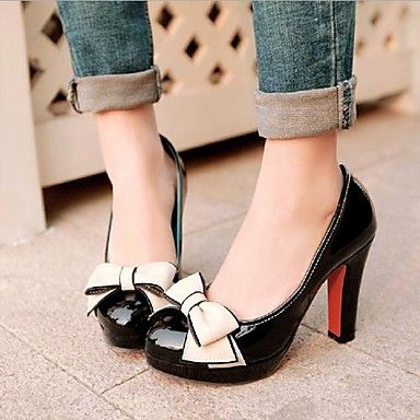 Women's Shoes Leatherette Spring / Summer / Fall Round Toe Dress Stiletto Heel Bowknot Black / Green / Pink 1788933 2016 – $34.99