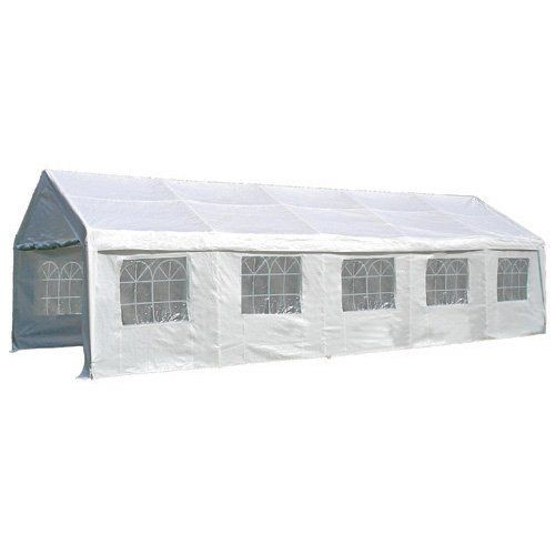 "Palm Springs 13 X 33 Heavy Duty Party Tent Canopy Gazebo with Sidewalls 010. 180g White PE covering provides resistance to wind and rain, side walls each have church style windows, can be unfastened and rolled up for added ventilation. Heavy duty 1.5"" diameter steel tube frame, powder coated for rust prevention. The height of the sides is 77"" and the peak height is 108"". Frame is made to industry standards and offers ultimate in strength and sturdiness. Easy to construct, includes…"