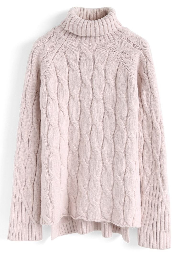 Versatile Turtleneck Cable Knit Sweater in Pink