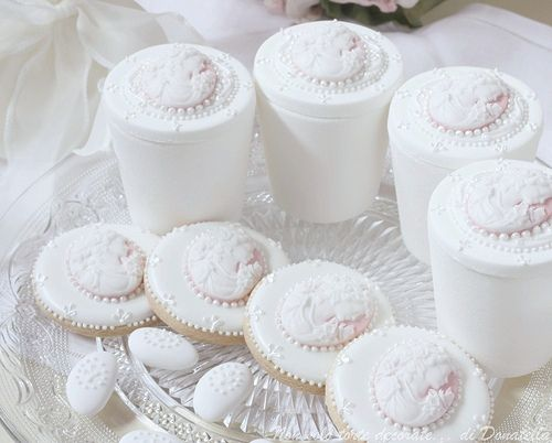 Sugar box, royal iced cookies with cameos