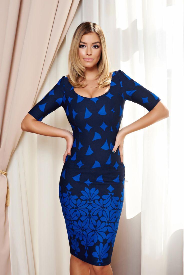 Fofy Stylish Lady Blue Dress, print details, short sleeves, form-fitting, slightly elastic fabric