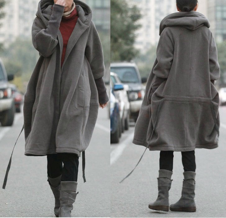 Free style zipper hoodie jacket with cotton lining winter coat grey