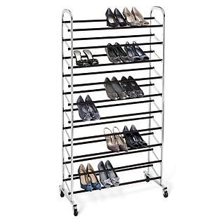 Chrome 10-Tier Rolling Shoe Rack - holds approximately 50 pairs of shoes, from the Container Store, $69