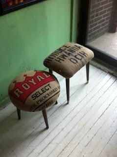 burlap stool