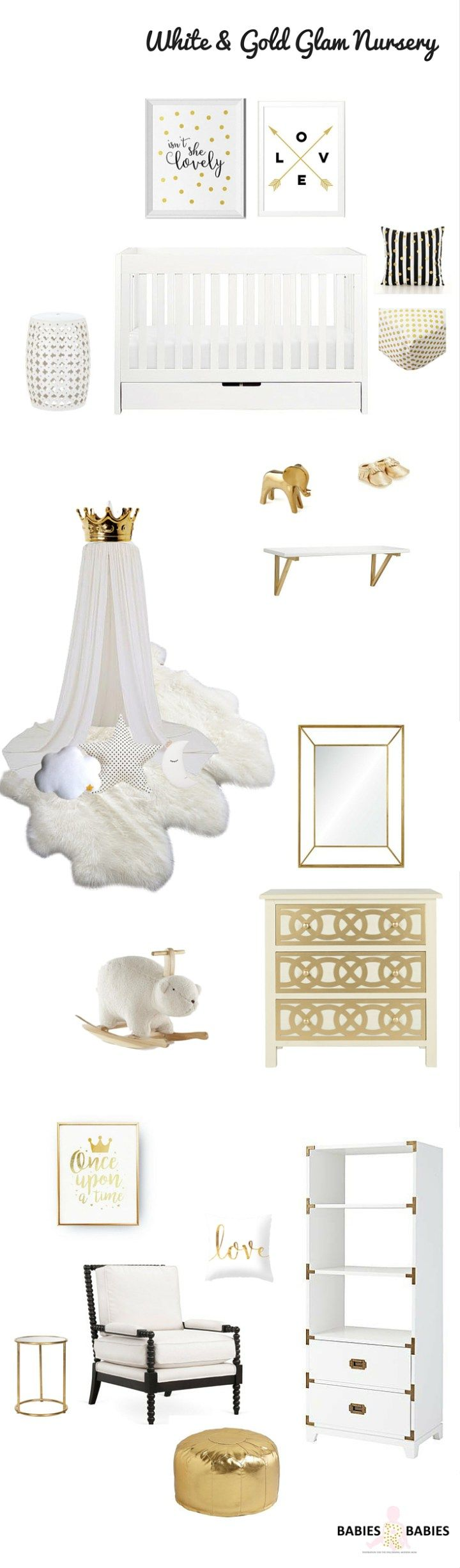 A glamorous modern white and gold nursery design with a touch of black, a super chic color combination for a baby girl nursery