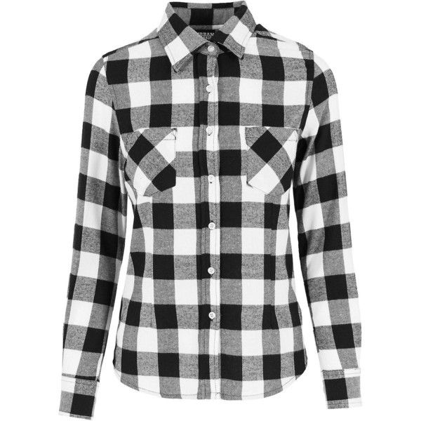 Urban classics ladies FLANNEL shirt black white (€28) ❤ liked on Polyvore featuring tops, plaid shirts, tartan flannel shirt, urban shirts, black and white top and black white plaid shirt