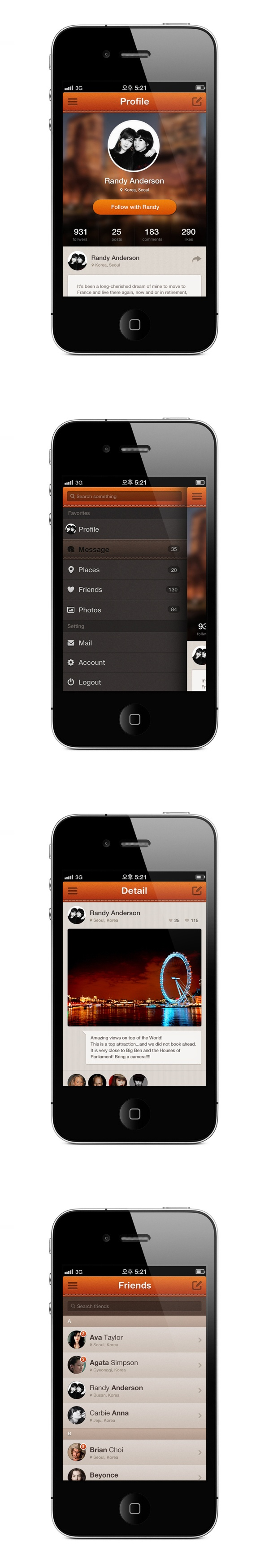 SNS service app for iphone by Ava Choi, via Behance