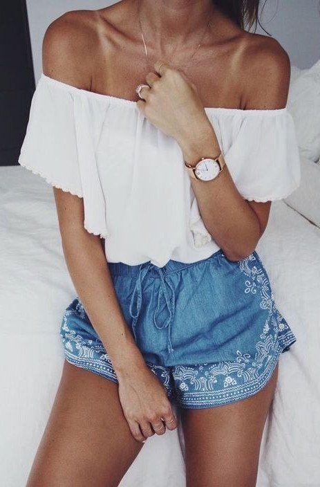 Summer fashion / boho shorts + white off the shoulder top