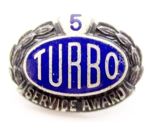Vintage 5 Year Turbo Service Award Enamel Sterling Silver Collectible Pin*D600