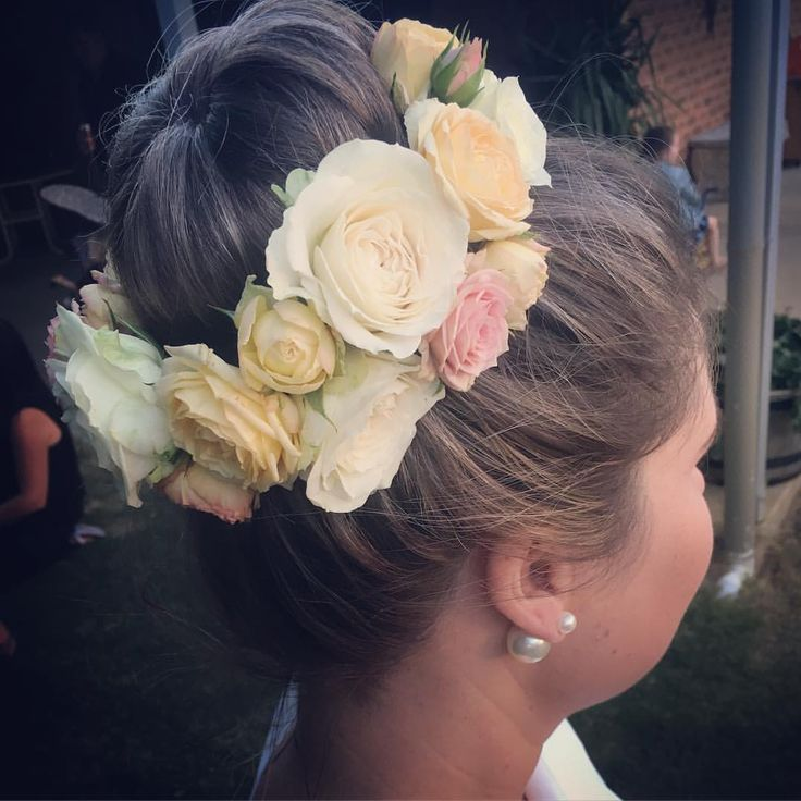 Wedding hairpiece for bun updo with roses by Hunting Blooms