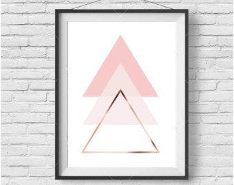 Items similar to Chevron Print, Copper Art, Rose Gold, Blush Print, Geometric Print, Pastel Art, Scandinavian Print, Printable Art, Digital Download on Etsy