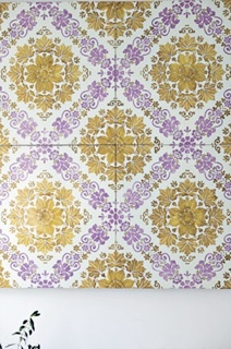 gold and lavender--beautiful...Lavastones and cotto tiles all hand decorated from Made a Mano.