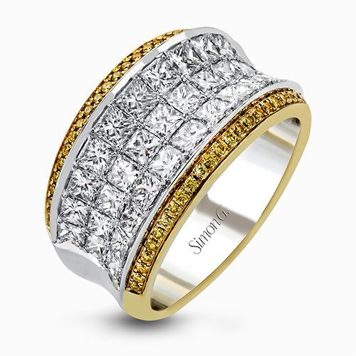This contemporary two-tone band is set with a triple row of 2.45 ctw princess cut white diamonds silhouetted by .19 ctw round yellow diamond accents.
