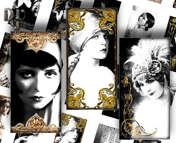 ART DECO' DOMINO Printable 1x2 ech size images by DreamUpGraphic