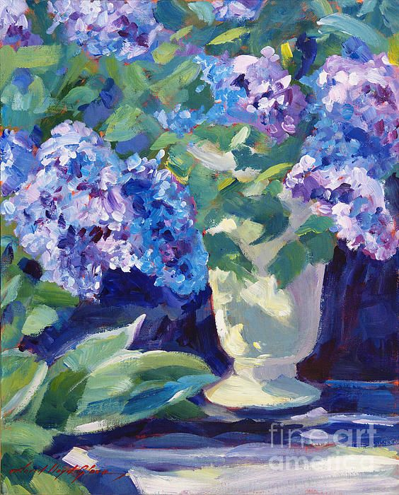Impressionist painting of hydrangea blooms by David Lloyd Glover