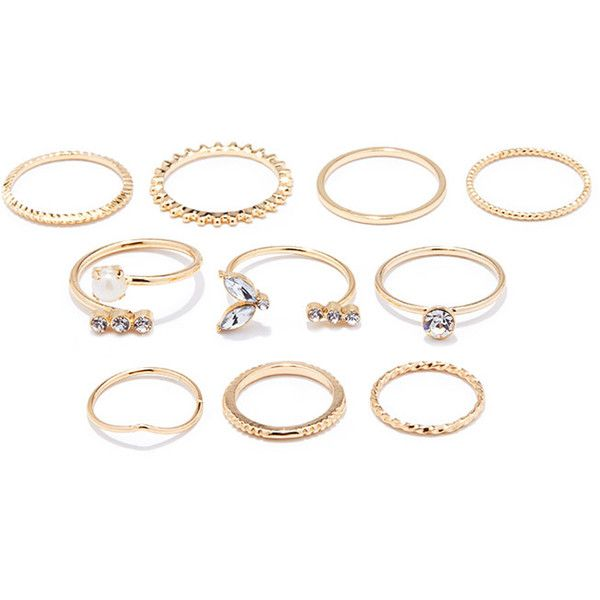 Forever 21 Rhinestone Midi Ring Set (£3.78) ❤ liked on Polyvore