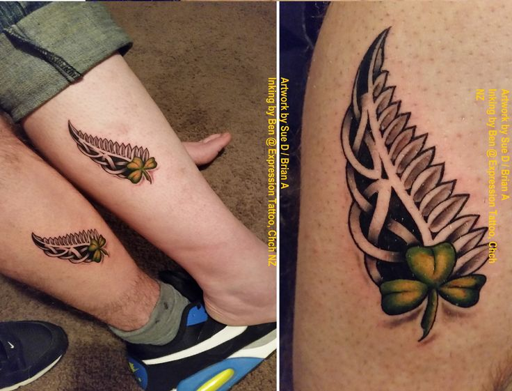 The joining of our two souls here: NZ Silver Fern (me) intertwining with (his) Celtic Knot and a Shamrock to show our origins. Collaboration of artwork by Sue D / Brian A. Inking by Ben @ Expression Tattoo, Chch NZ