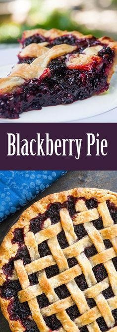 The best blackberry pie EVER. No kidding! All butter crust, loads of blackberries, spiced with a little lemon, cinnamon, and almond extract. Yum! On http://SimplyRecipes.com